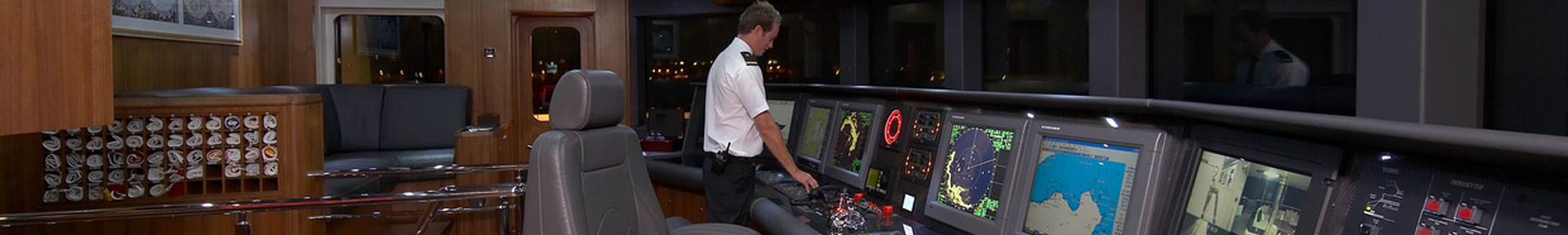 Deck officer on the bridge of a superyacht