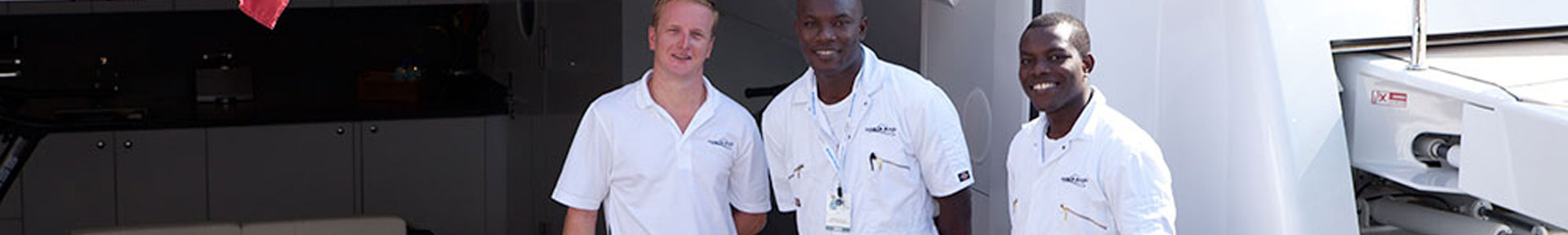 Three superyacht engineers at the Monaco Yacht Show