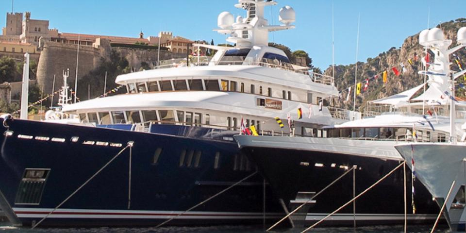 Superyacht moored up at harbour