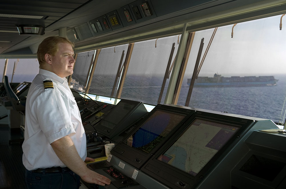 Senior deck officer on the bridge of a Maersk ship